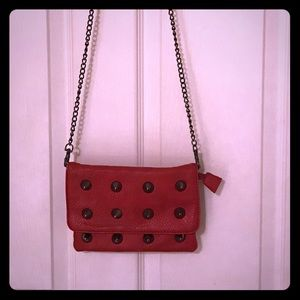 Street Level Red Leather Spike Crossbody Purse